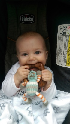 Aiden chewing of Finn and Emma teether