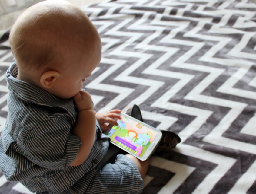 best-apps-for-new-mamas-baby- watching-a-video-DC-Motherhood-Blog